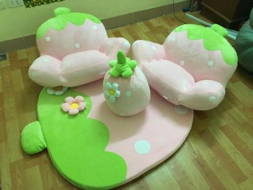 ghế lười dâu tây màu hồng