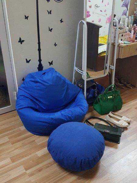 Ghế lười hạt xốp hình quả lê L06 màu xanh
