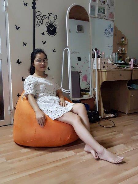 Ghế lười hạt xốp hình quả lê L06 màu cam