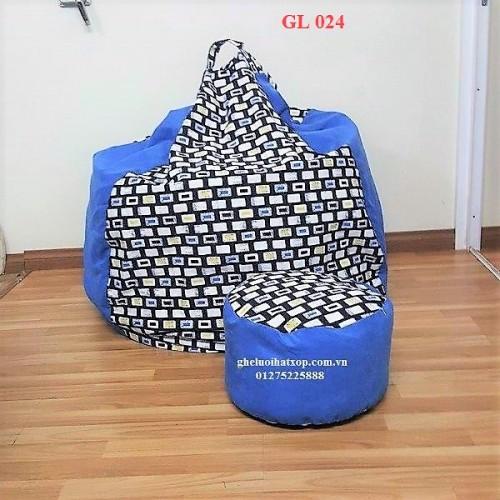 Ghế lười hạt xốp dáng lê xanh GL 024 (size XL) (2)