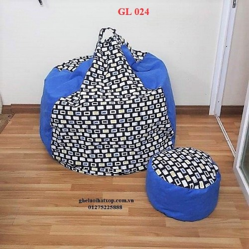 Ghế lười hạt xốp dáng lê xanh GL 024 (size XL)