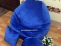 Ghế hạt xốp dáng lê chất nhung xanh GL L012 (2)