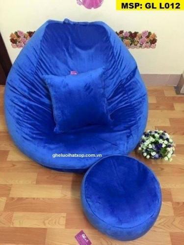 Ghế hạt xốp dáng lê chất nhung xanh GL L012 (3)