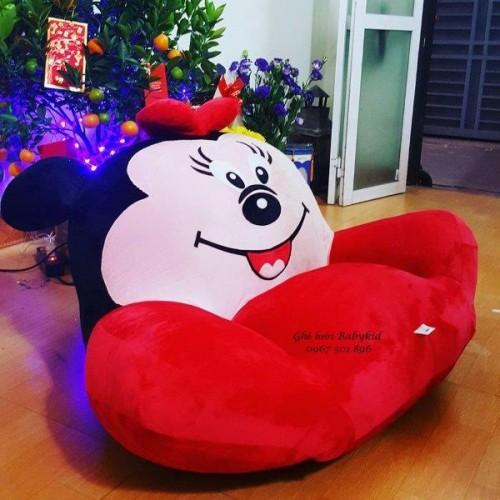 Ghế lười hình thú bành bông Minie màu đỏ size S GL BB001 (2)