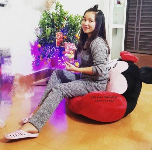 Ghế lười hình thú bành bông Minie màu đỏ size S GL BB001 (3)