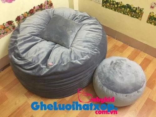 Ghế hạt xốp hình tròn xám – nhung (L) GL T091 (5)
