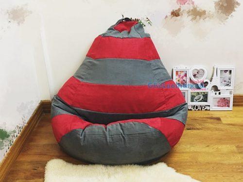ghế lười xốp dáng lê đỏ xám