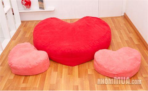 ghế lười hạt xốp hình trái tim