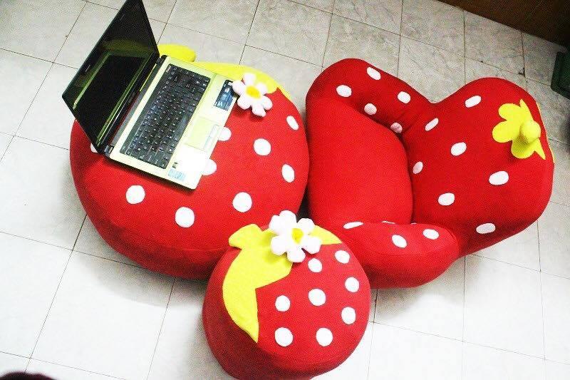 Ghế lười nhồi bông hình dâu tây - 5
