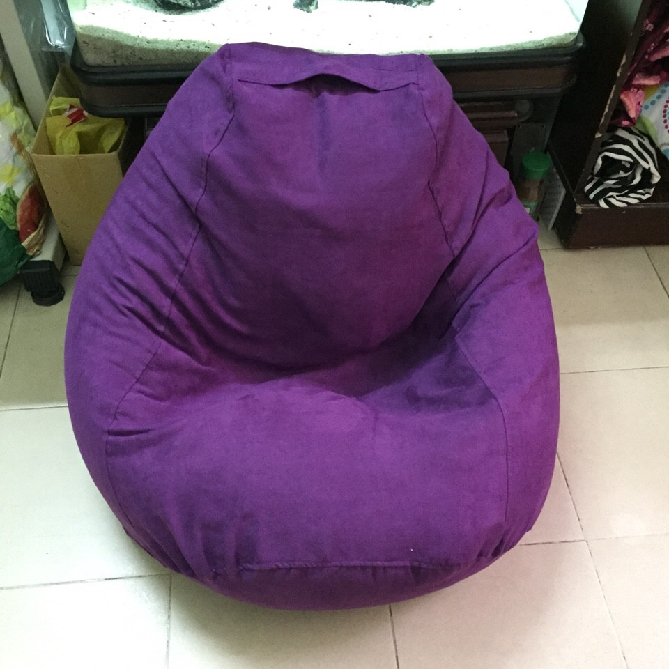 ghế lười hạt xốp hình quả lê màu tím