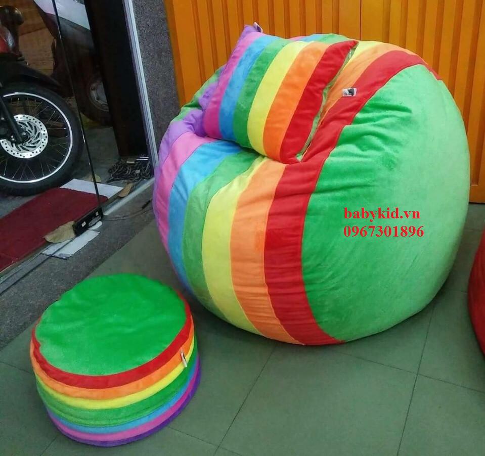 Ghế lười hạt xốp hình tròn-1