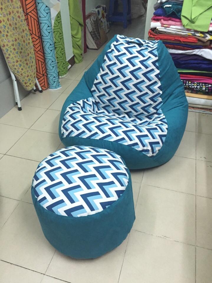 Ghế lười hạt xốp hình quả lê - L03 màu xanh