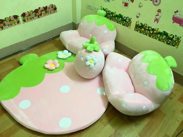 ghế lười dâu tây màu hồng 1