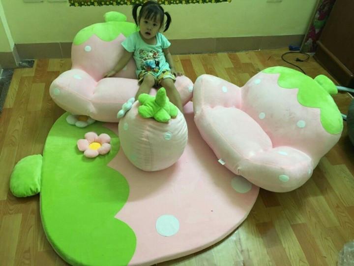 ghế lười dâu tây màu hồng 2