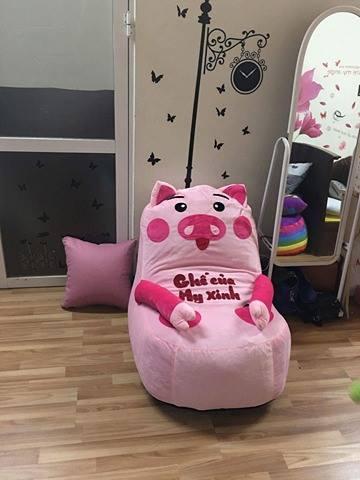 Ghế lười hạt xốp dáng sofa hình chú heo hồng