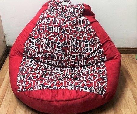 Ghế lười hạt xốp dáng lê màu đỏ GL 026 L (2)