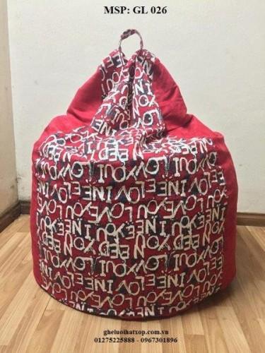 Ghế lười hạt xốp dáng lê màu đỏ GL 026 L
