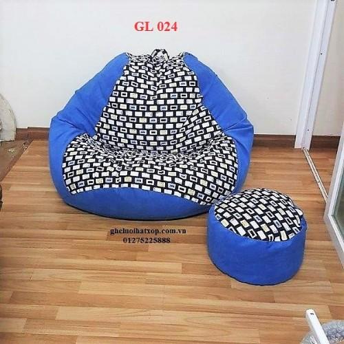 Ghế lười hạt xốp dáng lê xanh GL 024 (size XL) (3)
