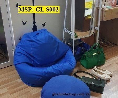Ghế lười hạt xốp dáng lê xanh kaki GL S002 (3)