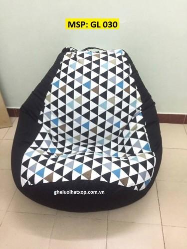 Ghế lười hạt xốp dáng lê đen tam giác GL 030 (L)