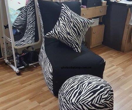 Ghế lười hạt xốp dáng sofa đơn vằn GL SF003 (3)