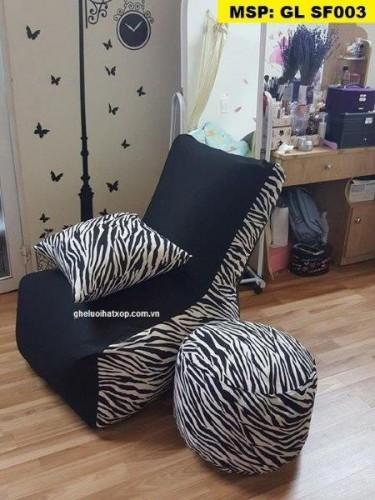 Ghế lười hạt xốp dáng sofa đơn vằn GL SF003