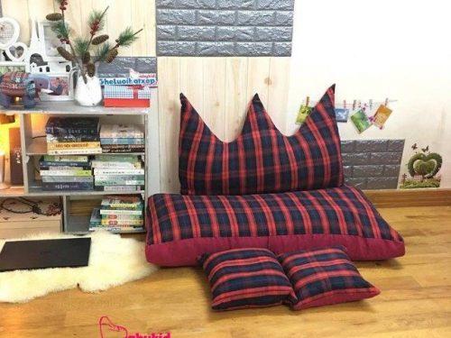 Bộ ghế hạt xốp chữ nhật caro kẻ đỏ 120cm SF015 (8)