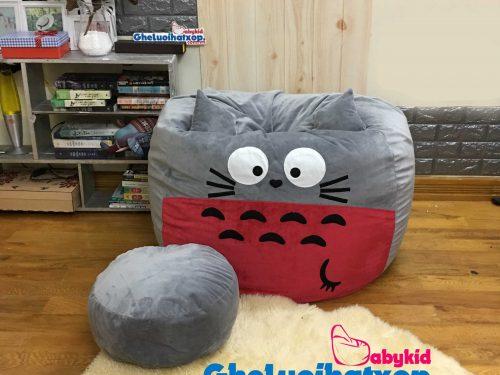 Bộ ghế lười xốp hình thú Totoro xám đỏ GL L183 [L] (3)