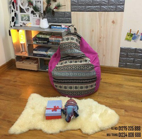 Ghế lười dáng lê hoa tuyết thổ cẩm pha hồng GL L190 size S