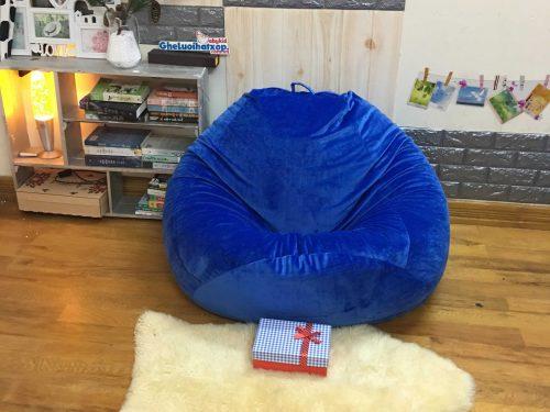 Gối xốp hình quả lê xanh coban nhung lạnh GL L191 [L] (4)