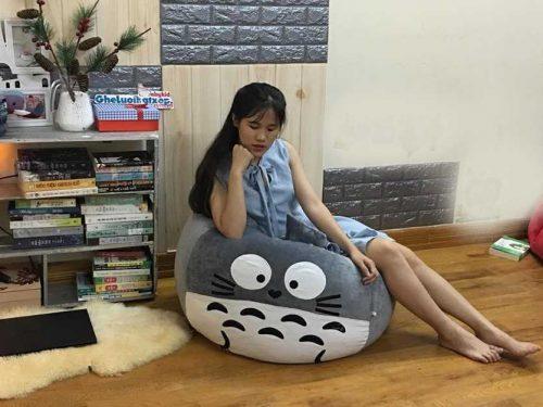 Ghế hạt xốp hình thú Totoro xám trắng nhung GL L194 [S] (1)