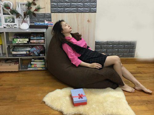 Ghế lười xốp chữ nhật nâu da lộn GL CN004 (2)