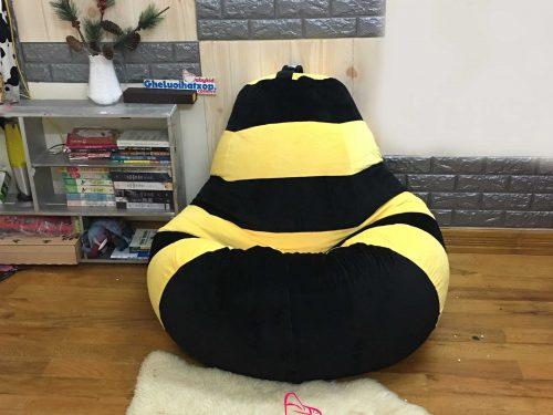 Ghế xốp hình quả lê ong vàng nhung GL L169 [L] (3)
