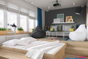Phối hợp ghế lười hạt xốp trong trang trí không gian nội thất nhà đẹp
