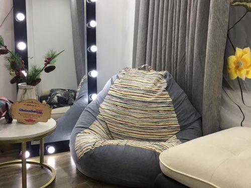 ghế lười hạt xốp văn sắc màu mix da lộn GL L071 (4)