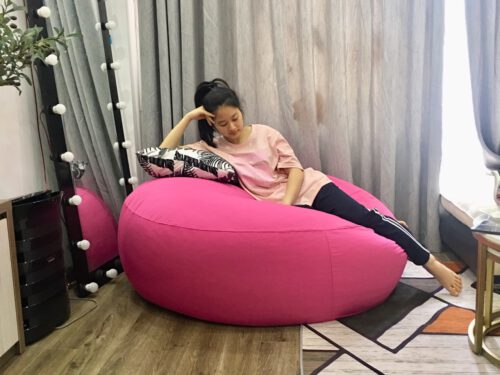 Gối lười, ghế lười hạt xốp dáng tròn vải kaki chun GL L091 ( XL ) (1)