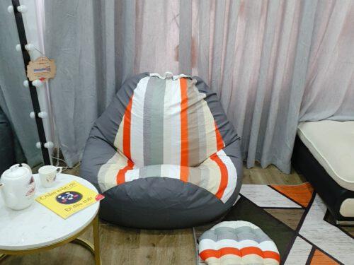Gối lười, ghế lười kẻ sọc sắc màu mix xám GL L104 ( S ) (3)