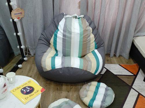 Ghế hạt xốp Babykid vải lụa cotton mix GL L 105 ( L ) (2)