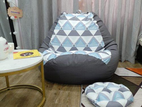 Ghế lười hạt xốp vải lụa cotton mix kaki chun GL L107 (3)