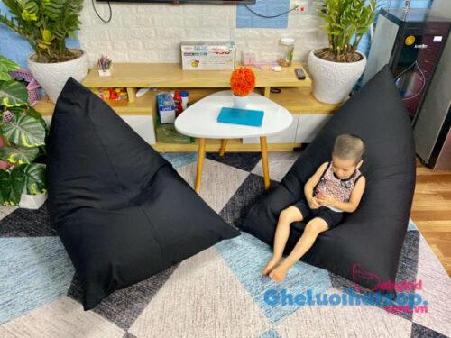 Ghế lười dáng thuyền vải đơn màu thô chun kích thước 1mx1m4 GL T015 (4)