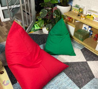 Ghế lười hạt xốp Babykid vải thô chun đỏ GL T013 ( S ) (3)