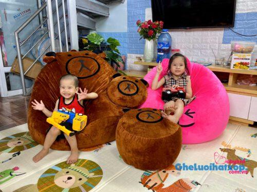 Ghế lười Babykid vải nhung hoạ tiết gấu nâu viềm đen GL L2101 (size M) (5)