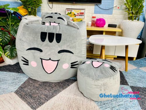 Ghế lười hạt xốp mèo mắt cười màu xám nhung cao cấp size L GL L2107 (3)
