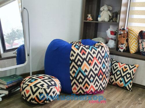 Set ghế lười hạt xốp BBK vải thô mix da lộn xanh coban GL L2125 [M]_7